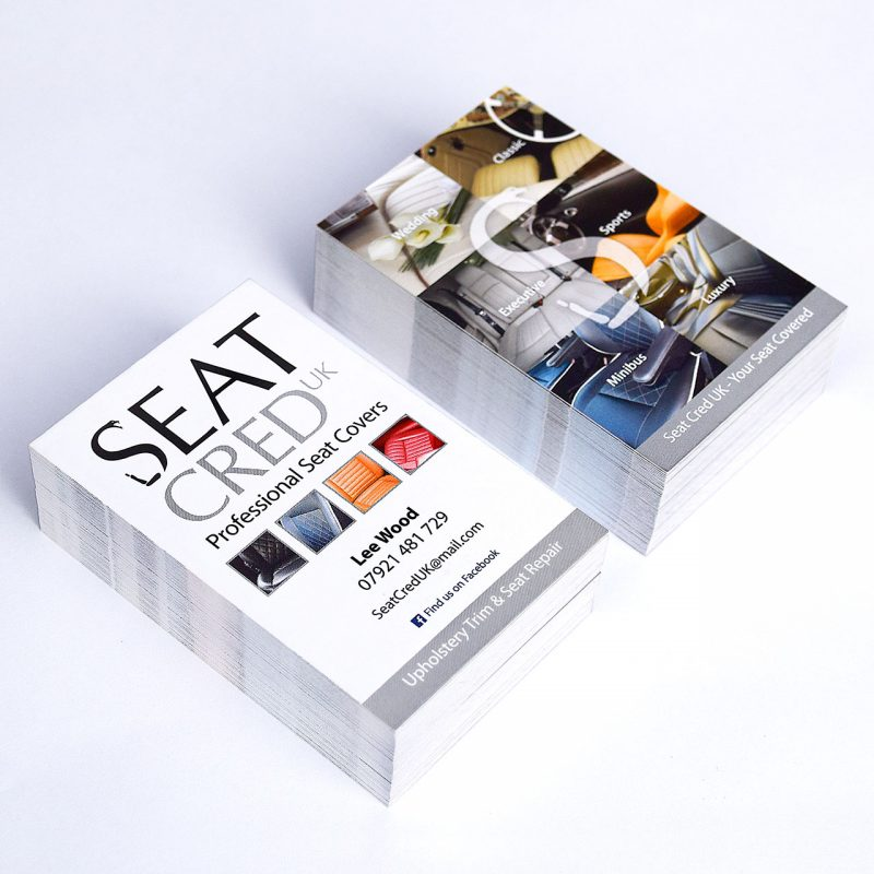 Printed full colour double sided business cards for Seat Cred UK