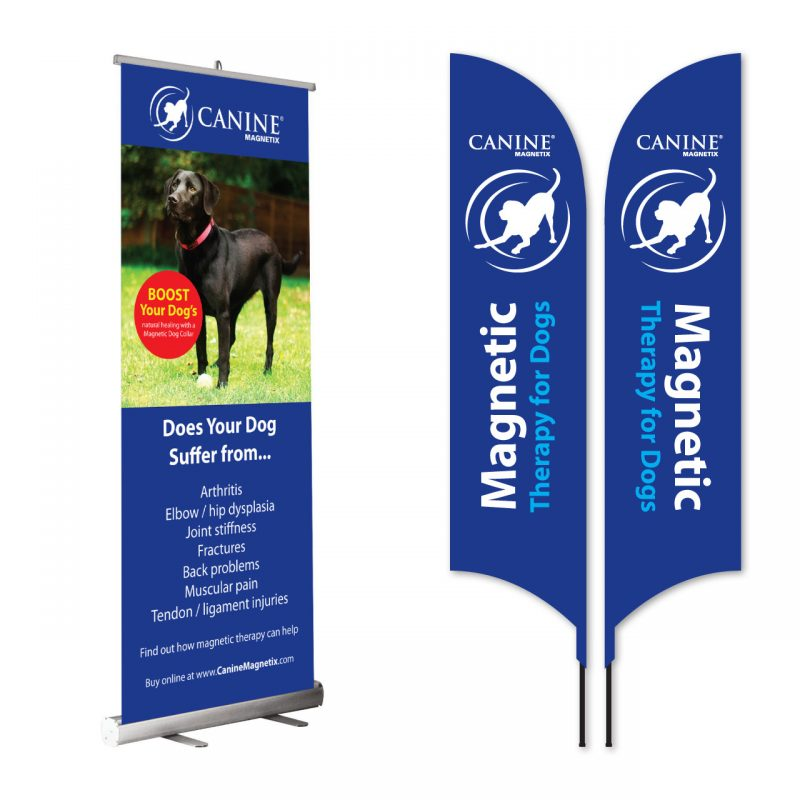 Canine Magnetix flags and roller banner