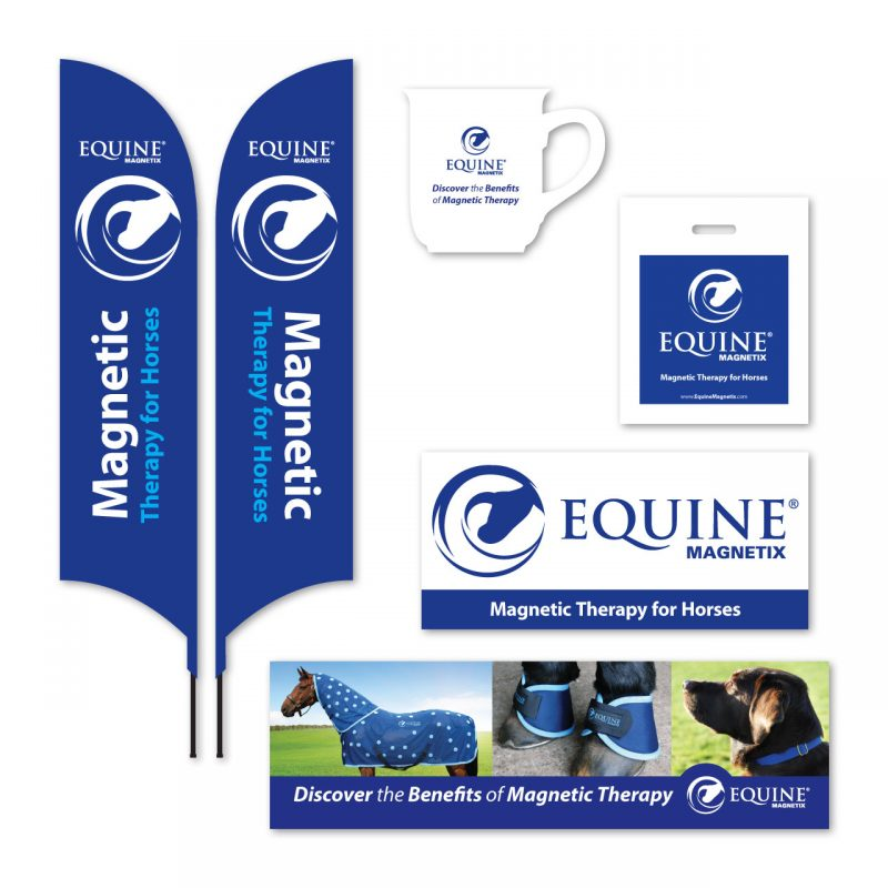 Equine Magnetix feather flags, banners, carrier bags and bell mugs