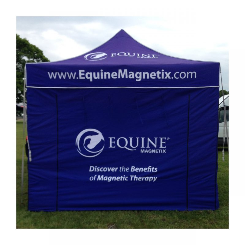 Equine Magnetix gazebo with printed roof and front panels on display