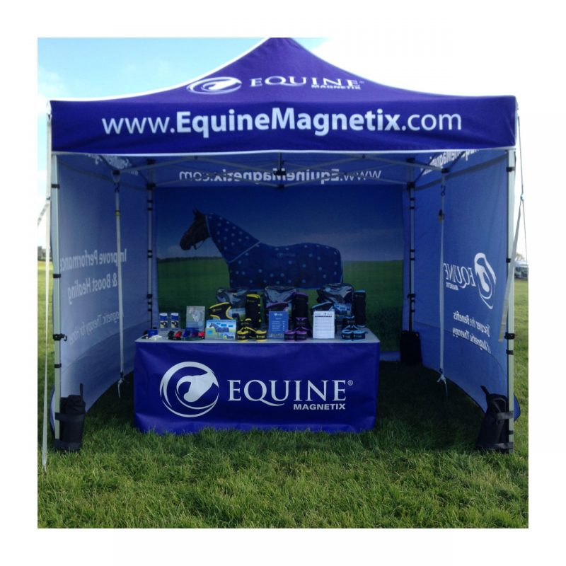 Equine Magnetix gazebo with printed proof, side panels, table and products