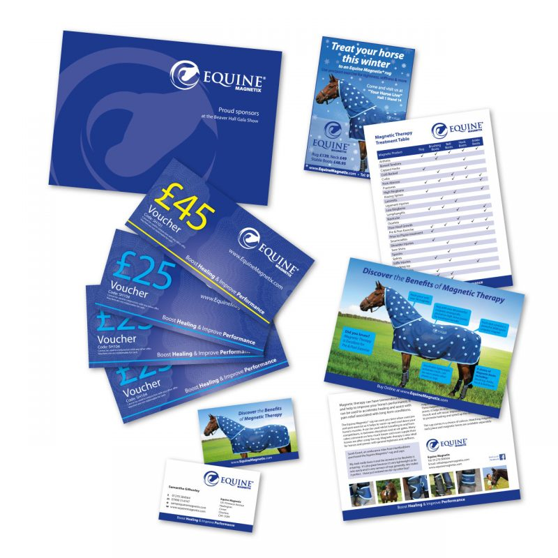 Equine Magnetix printed leaflets, card voucher holders, vouchers, business cards and adverts