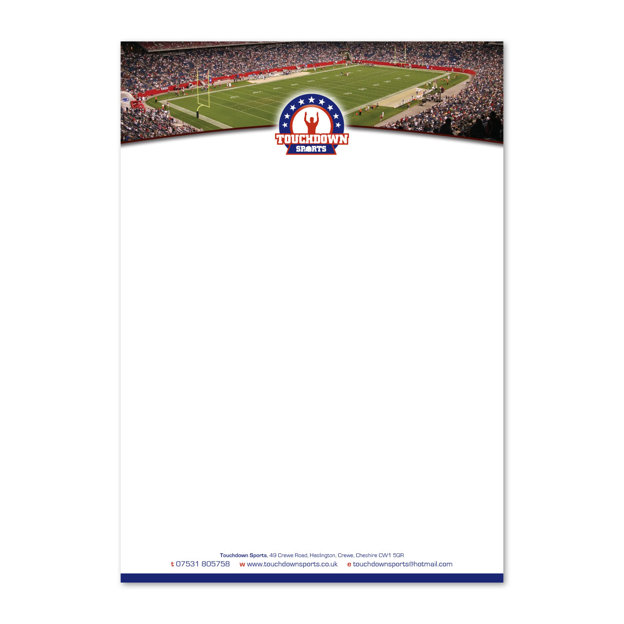 Touchdown Sports letterhead design